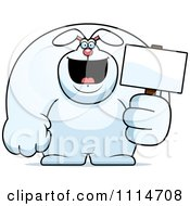 Clipart Buff Rabbit Holding A Sign 2 Royalty Free Vector Illustration