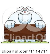 Clipart Buff Rabbit Behind A Wooden Sign Royalty Free Vector Illustration by Cory Thoman