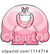 Clipart Happy Buff Pig Smiling Royalty Free Vector Illustration