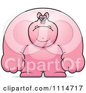 Clipart Depressed Buff Pig Royalty Free Vector Illustration