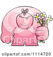 Clipart Buff Pig Holding Flowers Royalty Free Vector Illustration by Cory Thoman