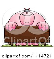Clipart Buff Pig Behind A Wooden Sign Royalty Free Vector Illustration by Cory Thoman