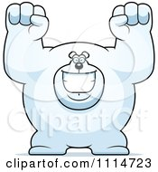 Clipart Excited Buff Polar Bear Cheering Royalty Free Vector Illustration