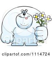 Clipart Buff Polar Bear Holding Flowers Royalty Free Vector Illustration