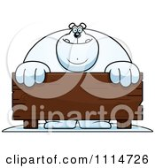 Clipart Buff Polar Bear Behind A Wooden Sign Royalty Free Vector Illustration