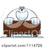 Clipart Buff Polar Bear Behind A Wooden Sign Royalty Free Vector Illustration by Cory Thoman
