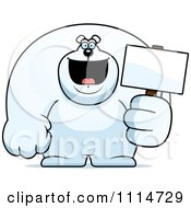 Clipart Buff Polar Bear Holding A Sign 2 Royalty Free Vector Illustration by Cory Thoman