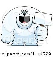 Clipart Buff Polar Bear Holding A Sign 2 Royalty Free Vector Illustration
