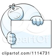 Clipart Buff Polar Bear Holding A Sign 1 Royalty Free Vector Illustration by Cory Thoman