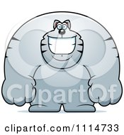 Clipart Happy Buff Gray Cat Smiling Royalty Free Vector Illustration