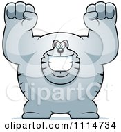 Clipart Excited Buff Gray Cat Cheering Royalty Free Vector Illustration