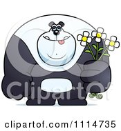 Clipart Buff Panda Holding Flowers Royalty Free Vector Illustration by Cory Thoman