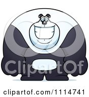 Clipart Happy Buff Panda Smiling Royalty Free Vector Illustration
