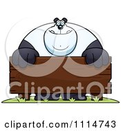Clipart Buff Panda Behind A Wooden Sign Royalty Free Vector Illustration by Cory Thoman