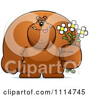 Clipart Buff Bear Holding Flowers Royalty Free Vector Illustration by Cory Thoman