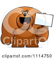 Clipart Buff Bear Holding A Sign 2 Royalty Free Vector Illustration