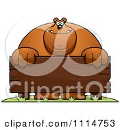 Clipart Buff Bear Behind A Wooden Sign Royalty Free Vector Illustration