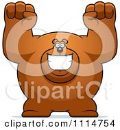 Clipart Excited Buff Bear Royalty Free Vector Illustration