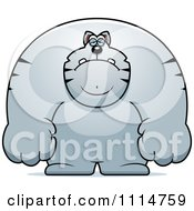 Clipart Depressed Buff Gray Cat Royalty Free Vector Illustration
