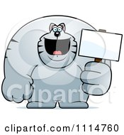 Clipart Buff Gray Cat Holding A Sign 2 Royalty Free Vector Illustration