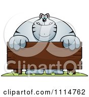 Clipart Buff Gray Cat Behind A Wooden Sign Royalty Free Vector Illustration by Cory Thoman