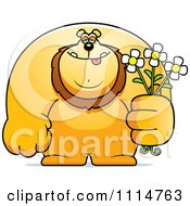Clipart Buff Lion Holding Flowers Royalty Free Vector Illustration by Cory Thoman