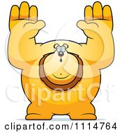 Clipart Buff Lion Giving Up Royalty Free Vector Illustration