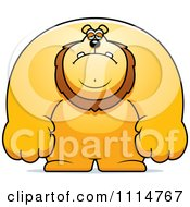 Clipart Depressed Buff Lion Royalty Free Vector Illustration