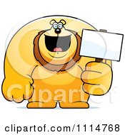 Clipart Buff Lion Holding A Sign 2 Royalty Free Vector Illustration