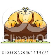 Clipart Buff Lion Behind A Wooden Sign Royalty Free Vector Illustration
