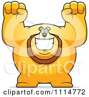 Clipart Excited Buff Lion Cheering Royalty Free Vector Illustration