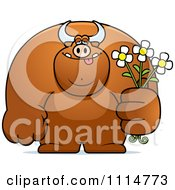Clipart Buff Bull Holding Flowers Royalty Free Vector Illustration by Cory Thoman