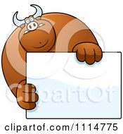 Clipart Buff Bull Holding A Sign 1 Royalty Free Vector Illustration