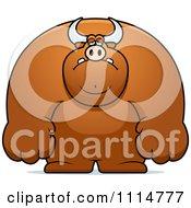Clipart Depressed Buff Bull Royalty Free Vector Illustration