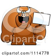 Clipart Buff Bull Holding A Sign 2 Royalty Free Vector Illustration