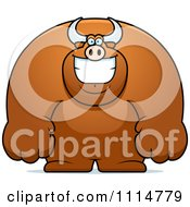 Clipart Happy Buff Bull Smiling Royalty Free Vector Illustration by Cory Thoman