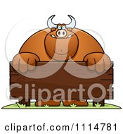 Clipart Buff Bull Behind A Wooden Sign Royalty Free Vector Illustration by Cory Thoman