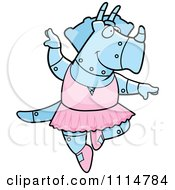 Clipart Blue Robot Triceratops Ballerina Dancing Royalty Free Vector Illustration