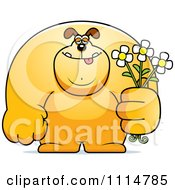 Clipart Buff Dog Holding Flowers Royalty Free Vector Illustration by Cory Thoman