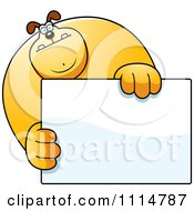 Clipart Buff Dog Holding A Sign 1 Royalty Free Vector Illustration