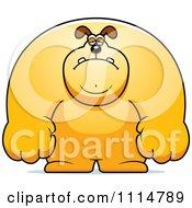 Clipart Depressed Buff Dog Royalty Free Vector Illustration
