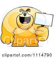 Clipart Buff Dog Holding A Sign 2 Royalty Free Vector Illustration