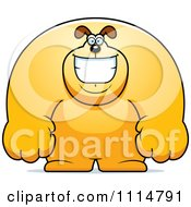 Clipart Happy Buff Dog Smiling Royalty Free Vector Illustration