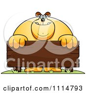 Clipart Buff Dog Behind A Wooden Sign Royalty Free Vector Illustration