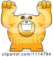 Clipart Excited Buff Dog Cheering Royalty Free Vector Illustration