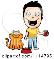 Clipart Happy Boy Feeding His Cat Royalty Free Vector Illustration