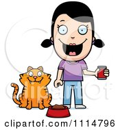 Clipart Happy Girl Feeding Her Cat Royalty Free Vector Illustration