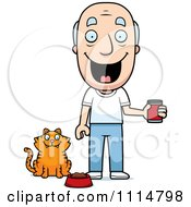 Clipart Happy Senior Man Feeding His Cat Royalty Free Vector Illustration