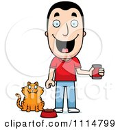 Clipart Happy Man Feeding His Cat Royalty Free Vector Illustration