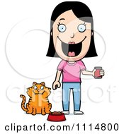 Clipart Happy Woman Feeding Her Cat Royalty Free Vector Illustration by Cory Thoman